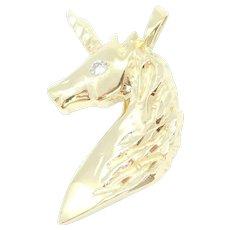 .04 Carat Diamond Unicorn Pendant 14k Yellow Gold