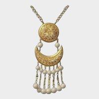 Vendome Signed Sun and Moon Necklace - Vintage VENDOME Estate Jewelry