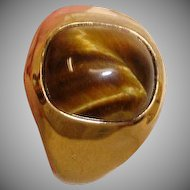 Vintage 18K HGP Yellow Gold Cat Eye  Ring –  Size 12-3/4 US