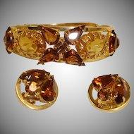 Vintage Hinged Bracelet and Earrings Set - Vintage Rhinestone  Demi Parure