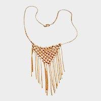 Estate Jewelry Gold Tone Fringe  Dangle Necklace - Tassel Bib Necklace - Boho