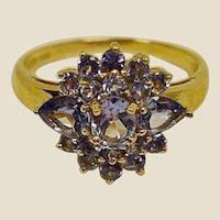 SALE - Vintage Tanzanite Cluster Ring - 14K Yellow Gold - Size 8