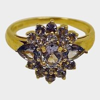 SALE - Vintage Tanzanite Cluster Ring - 14K Yellow Gold - Size 8