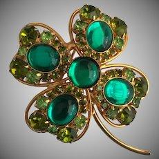 Vintage Signed Hobe Rhinestone Brooch - 4 Leaf Clover Pin