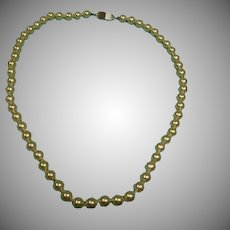 "Vintage Hand Knotted Glass Pearl  Necklace - 18"" Long"