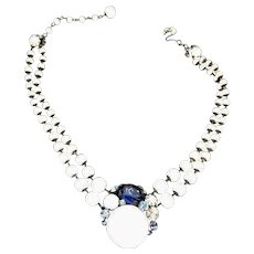 Vintage 1950's Miriam Haskell Glass Bead and Rhinestone Necklace