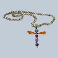 Vintage Allison Lee - Snowhawk - Native American Sterling  Dragonfly Pendant - Sterling Bead Navajo Pearl Necklace