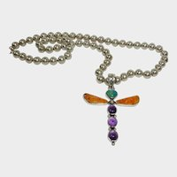 Vintage Allison Lee - Snowhawk - Native American Sterling  Dragonfly Pendant on Sterling Bead Necklace