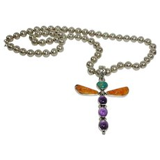 Native American - Vintage Allison Lee - Snowhawk - Sterling  Dragonfly Pendant Shown on an Unsigned  Sterling Bead Necklace