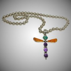 Vintage Allison Lee - Snowhawk - Native American Sterling  Dragonfly Pendant on an Unsigned Sterling Bead Necklace