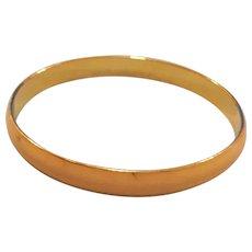 "Vintage Yellow Enamel and Gold Tone Bangle Bracelet - Stack or Wear Alone - 8"" Slip-On Bracelet - Solid - Era 1960's"