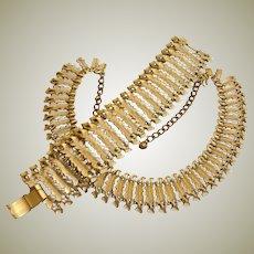 SALE *** BSK Demi Parure - Leaf Designed Necklace and Bracelet Set