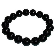 Estate Black Bead Stretch Bracelet