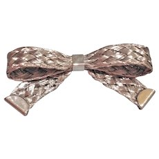 SALE.... Mid-Century Textured Silver Tone Bow Brooch / Pin