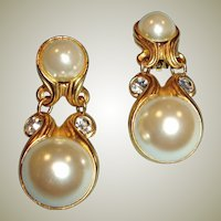 Vintage Faux Pearl and Rhinestone Dangle Drop Earrings - Clip-on Style