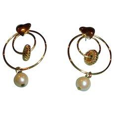 Hoop Dangle Earrings - Post Pierced with a Heart