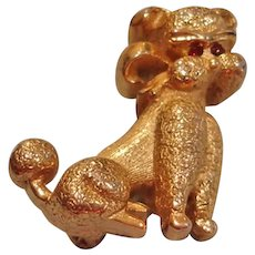 Vintage Small Poodle Pin with Red Rhinestone Eyes