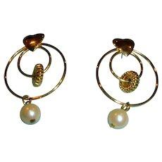 50% Off Sale******Hoop Dangle Earrings with HEART - Drop Hoop and Pearl Earrings - Post Pierced