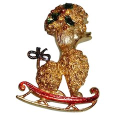 Vintage  Poodle on a SLED Brooch Pin