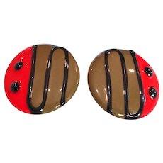 Vintage Large Enamel Pierced Earrings