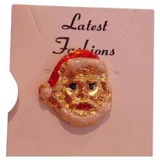 """Vintage Santa Tie Tack or Small Hat Pin Accessory - ¾"""" by ¾"""""""