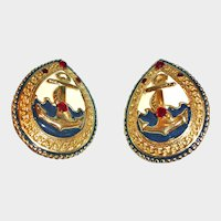 Vintage Large Anchor Clip-On Earrings