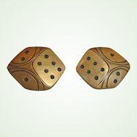 "Vintage Dice Earrings - Clip-On Earrings  1-1/4"" by 1"""