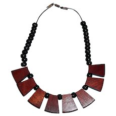 """SALE ... Vintage Wood Necklace with Wooden Disks and Black Beads  -  16-3/4"""" Long"""