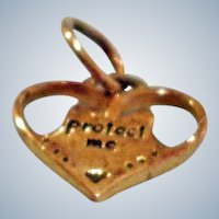 Vintage Heart Charm or Pendant  with Angel Wings  -  Protect Me