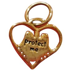 Vintage Heart Pendant or Charm with ANGEL WINGS  - Protect Me