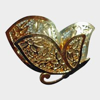 Vintage Gold Tone Butterfly Brooch - Pin