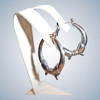 SALE ... Vintage Ornate Pierced Silver Tone Hoop Earrings
