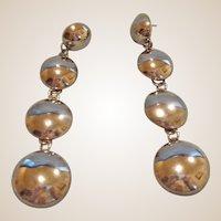 "Vintage Silver Tone Dangle Drop Earrings – 4"" Long Disks"