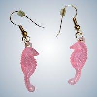 Vintage Pink Lucite Sea Horse Dangle Earrings