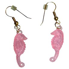 Vintage Pink Lucite Sea Horse Dangle Earrings