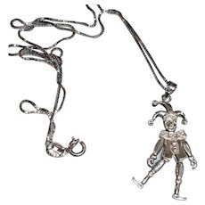 Vintage  Sterling Silver The Jester - The Clown Articulated Moveable Charm Pendant Necklace