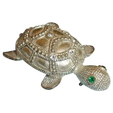 Vintage Silver Turtle Brooch Pin with Rhinestones