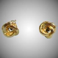 Vintage Gold Tone  Love Knot  Pierced Earrings