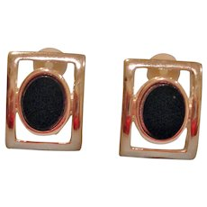 Vintage Silver Tone and Black Comfort Clip Earrings