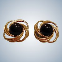 Gold Tone and Black Cabochon Clip-On Style Earrings