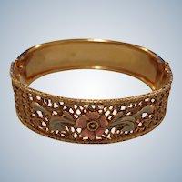 Vintage Bangle Bracelet with Floral Design