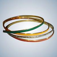 Set of Bangle Bracelets -4 Thin Gold Tone and Enamel Bracelets
