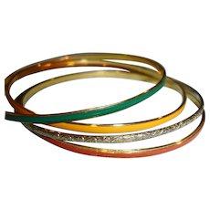 SALE *** Set of Bangle Bracelets - 4 Thin Gold Tone and Enamel Bracelets