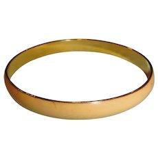 Vintage Yellow Enamel and Gold Tone Bangle Bracelet