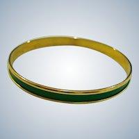 Vintage Dark Green and Gold Tone Bangle Bracelet