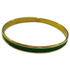 Vintage Dark Green and Gold Tone Bangle Bracelet