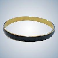 Vintage Dark navy Blue and Gold Tone Bangle Bracelet