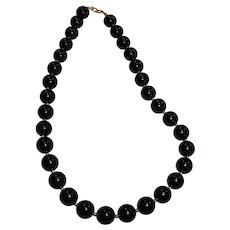 "Vintage Black Bead Necklace 18"" Long"