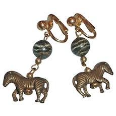 Vintage CLIP ON Zebra Dangle Drop Earrings