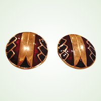 Vintage CLIP  On Earrings – Black Deep Burgundy and Gold Tone